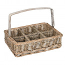 wholesale Drinking Glasses: BASKET GLASS WITH  HANDLE WICKER WOOD GRAY