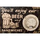 TABLEAU DECAPSULEUR MOTIF  BEER  EN BOIS