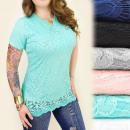 Großhandel Hemden & Blusen: C11180 Lange Spitzenbluse, Plus Size