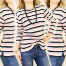 K275 FUNY, WARM  BLOUSE, striped pattern CA S