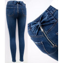 B16802 Women Jeans, Pants, Zip and Bows, Navy