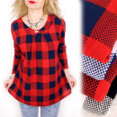 Großhandel Hemden & Blusen: C11431 Lockere Tunika, Karo-Muster, ...