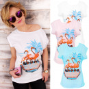 K477 Bawełniana Bluzka, Koszulka, Funny Flamingo