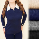 C17372 Classic  Sweater With Collar, Fur