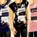 3768 blouse, TOP  FOTO PRINT HOE GELUKKIG MIX BE