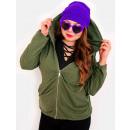 EM03 Frauen Oversize Hoodie, Plus Size, Khaki