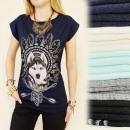 K611 Cotton Women Shirt Indian Wolf, Navy Blue
