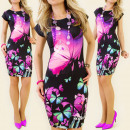 K105 SUMMER DRESS,  MAGIC BUTTERFLY, BLACK MIX