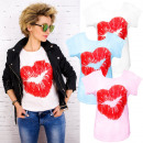 H115 katoenen  blouse, dames top, mooie lippen