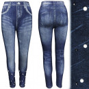 Großhandel Hosen: 4471 Leggings Jeans mit Perlen und Perlen, Blau