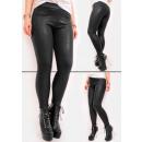 Warme Leggings, Hose, schwarzes Leder, Matte, S-XL