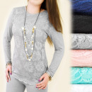 Großhandel Fashion & Accessoires: C11160 LOSE BLUSE, TUNE, SPITZEN MIT ROSEN MIX