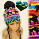 wholesale Headgear: FA10 WOMEN HAT,  CAP, EARED, Inca PATTERN, WOOL
