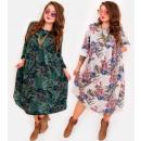 hurtownia Fashion & Moda: EM54 Obszerna Sukienka Plus Size to 56, Kwiaty MIX