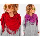 groothandel Kleding & Fashion: A1257 Sjaal met franjes, kant, mooie kleuren