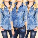 Großhandel Jeanswear: BI623 Bluse, Jeanshemd, Sternenmuster