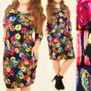 BI577 Wzorzysta Sukienka, Duże Rozmiary, Efekt 3D