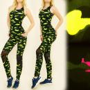 Großhandel Shirts & Tops: FL502 Set Top + Leggings, Einsätze aus Mesh