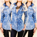 grossiste Vetements en jean: BI580 Ladies Blouse, Jeans Shirt, Golden Slider