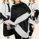 hurtownia Fashion & Moda: B10A10 DWUSTRONNE  PONCZO, PELERYNA, KLASYCZNY WZÓR