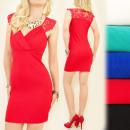 A1933 Sexy Dress, Umschlag mit V-Ausschnitt, Spitz