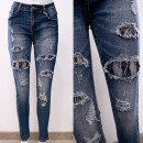Großhandel Hosen: B16838 Damen Jeans Hose mit Löchern, Spitze