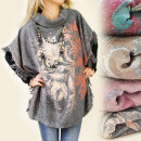 grossiste Pulls et Sweats: FL255 SPECIAL poncho, PULL, FLOWERS ET OMBRE