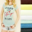 groothandel Kleding & Fashion: G185 blouse, TOP,  katoen , GENIET VAN HET LEVEN IN