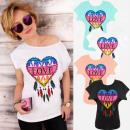 mayorista Ropa / Zapatos y Accesorios: Camisa de mujer, Algodón, Amor colorido, SL, K630