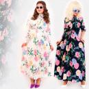 Großhandel Kleider: C17554 Langes Kleid in Übergröße, Bunte ...