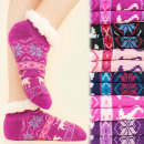 wholesale Shoes: 4173 Winter Socks,  ABS Slippers, Faux Fur, Reindee