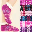4173 Winter Socks, ABS Slippers, Faux Fur, Reindee