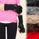 wholesale Gloves: FL327, CHARMING  long gloves, fur and jets, MIX