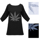 N080 Lose Bluse, Oversize-Tunika, Cannabis-Print
