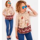 Großhandel Hemden & Blusen: R48 gemusterte Frauen Bluse, Retro-Stil, BE