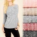 C11390 Hübsche Bluse, Tunika, Silberne Sterne