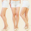 wholesale Shorts: B16338 TRENDY  LADIES SHORTY, BRIGHT JEANS, MIX