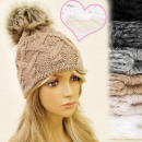 wholesale Headgear: FL331 LADIES CAP,  HAT, insulated fleece, POMPON
