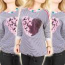 BI599 Romantic Blouse, Sweatshirt, Flower&Heart