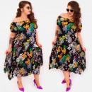 Großhandel Kleider: C17703 Frauen Asymmetrisches Kleid, Sommerblumen