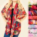 C17287 Châle, foulard, écharpe, fleurs fantaisie