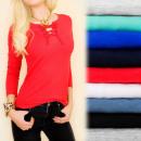 Großhandel Fashion & Accessoires: D2664 Top-Bluse  aus Baumwolle mit geschnürtem Auss