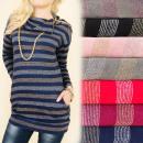 Großhandel Hemden & Blusen: BI617 Schöne Tunika, Glänzender Pullover, Pin-Krag