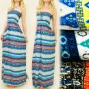 C1736 SUMMER DRESS, LENGTH MAXI, AZTECKI PATTERN