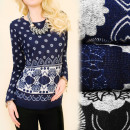 Großhandel Fashion & Accessoires: C11337 lose warme  Tunika, Bluse, Herbstblumen