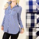 Großhandel Hemden & Blusen: BI534 Schlankes Hemd, Tunika, Gittermuster