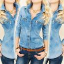 BI569 Femine  Blouse, Jeans  Overhemd, Gouden ...
