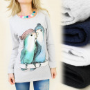 K253 COTTON TOP,  BLOUSE: Imprint BIRDS IN LOVE