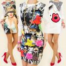 3912 BEAUTIFUL  DRESS, PHOTO PRINT, 3D EFFECT MIX