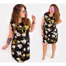 Großhandel Kleider: C17515 Damen Plus Size Kleid, Schwarz & Lilien